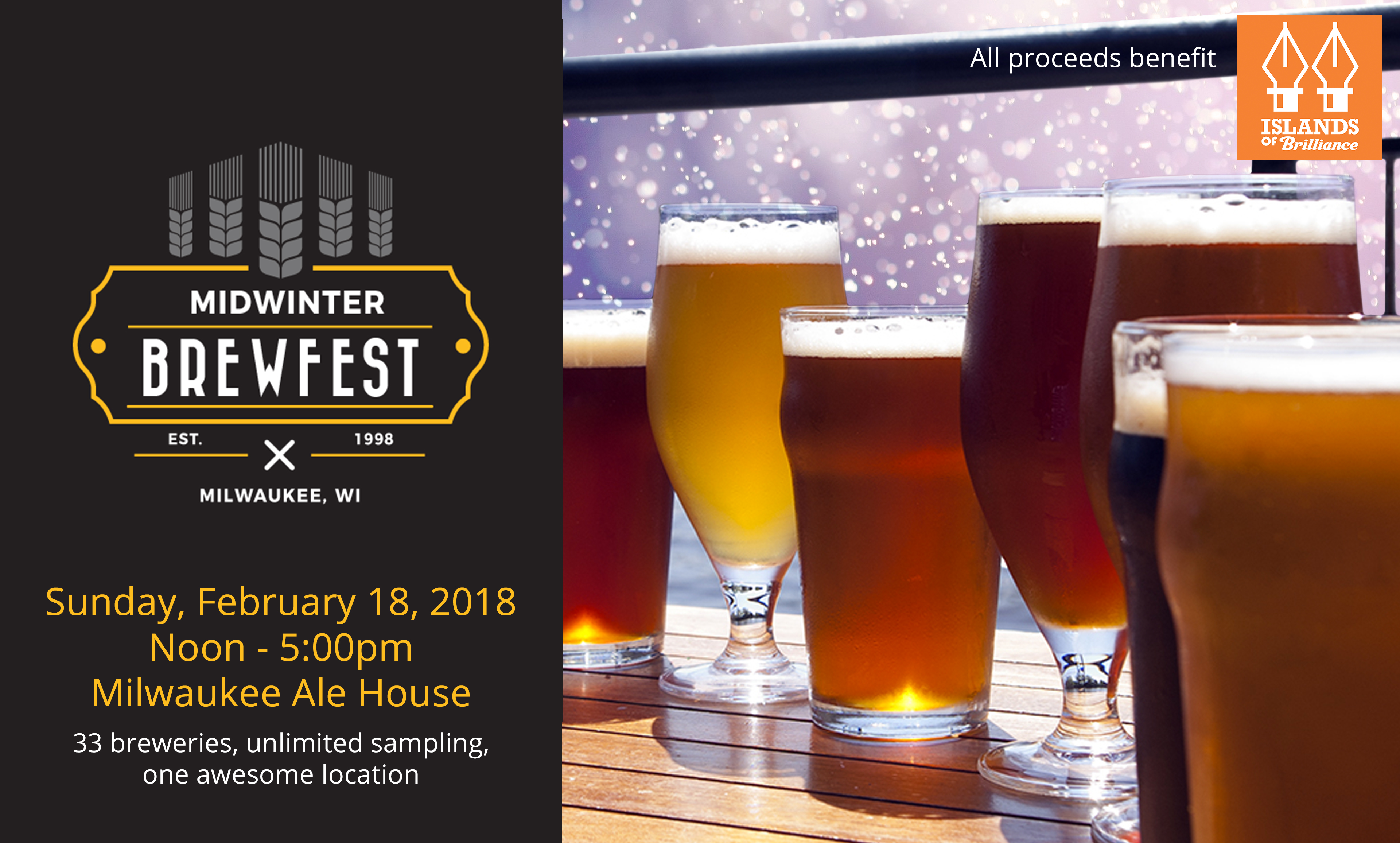 33 breweries, unlimited sampling, all supporting Islands of Brilliance!!